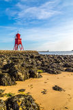 River Tyne - the Herd Groyne lighthouse Stock Photography