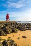 River Tyne - the Herd Groyne lighthouse Stock Photography