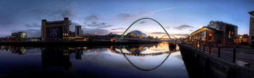 River Tyne Panorama Sunset Royalty Free Stock Photos