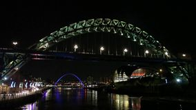 River Tyne Timelapse. The Tyne Bridge connecting Newcastle and Gateshead in North East England.  In the background are the Millennium Bridge and Baltic and Sage stock video footage