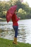 River and umbrella Royalty Free Stock Photo
