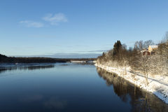 The River of UmeÃ¥, Sweden. The River of Umeå, Sweden in early winter royalty free stock photos