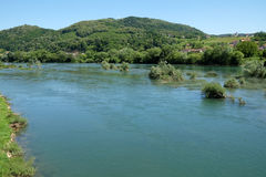 River Una on a summer day in Hrvatska Kostajnica, Croatia.  Stock Image