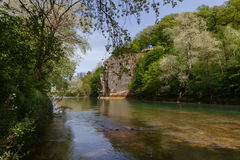 River under rock in forest at Caucasus Stock Photography