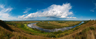 River under sky. Stitched Panorama Royalty Free Stock Photography