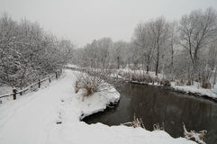 River under snow Royalty Free Stock Photos