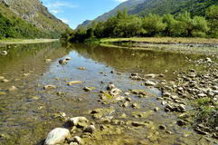 Palinuro, nature,italy. River with rocks and trees. A part of Italian Untouched nature  clean relaxing and fresh. Mingardo river. Palinuro.Italy Royalty Free Stock Image