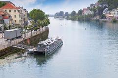 River, urban promenade and pleasure vessel Royalty Free Stock Photos