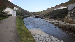 River Valency Boscastle Cornwall England UK flowing towards the harbour stock video
