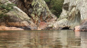 River on a valey. In a deep valley, a river of clean and fresh water in the interior of Portugal Royalty Free Stock Photo
