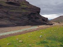 River Valley в горах Kerlingarfjöll вулканических в wi Исландии Стоковая Фотография
