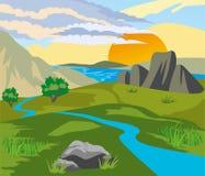 River Valley al tramonto Fotografia Stock Libera da Diritti