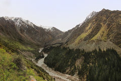 The river valley in Ala Archa National Park in May, Kyrgyzstan Stock Images