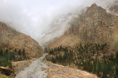The river valley in Ala Archa National Park in May, Kyrgyzstan Royalty Free Stock Photos
