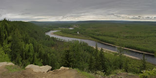 River Valley Chulman  in South Yakutia Stock Images