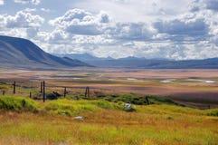 River Valley des montagnes avec l'herbe jaune et orange près de la ligne de frontière avec la Mongolie Photo libre de droits