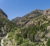 River Valley führt in Gebirgsschlucht Lizenzfreie Stockfotografie