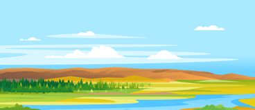 River Valley Forest Landscape Background Illustration de Vecteur