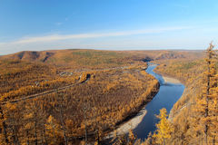River Valley i södra Yakutia Chulman Arkivfoton
