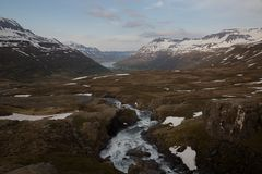 River valley with mountains in background Iceland landscape stock photos