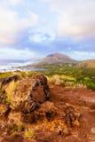 River Valley på soluppgång på Makapuu punkt, Hawaii Royaltyfri Fotografi