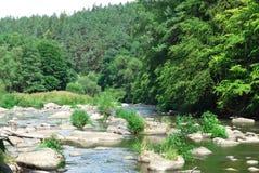 River in the valley. River Sazava in the valley - rocks named Stvoridla - minimum hdr used  - blue sky Royalty Free Stock Image