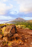 River valley at sunrise at Makapuu point, Hawaii Royalty Free Stock Photography