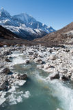 River valley view. The Dudh Kosi river flowing down the Himalayan Valley from mount everest Royalty Free Stock Images