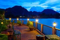 River in Vang Vieng. View of Vang Vieng, Laos royalty free stock photography