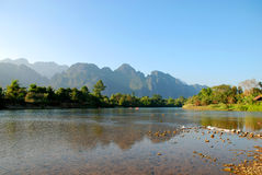 River in vang vieng. Clean river in vang vieng royalty free stock images