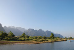 River in vang vieng. Clean river in vang vieng royalty free stock photography