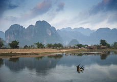 River in vang vieng laos Royalty Free Stock Images