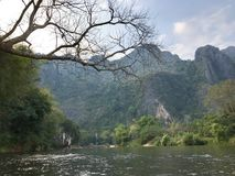 The river in Vang Vieng, Laos. Landscape view of river in Vang Vieng, Laos royalty free stock photos