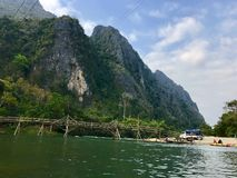 The river in Vang Vieng, Laos. Landscape view of river in Vang Vieng, Laos stock photography