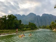 The river in Vang Vieng, Laos. Landscape view of river in Vang Vieng, Laos royalty free stock image