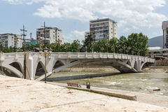 River Vardar passing through City of Skopje center, Republic of Macedonia Royalty Free Stock Photography