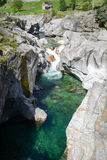 The river Verzasca at Lavertezzo on Verzasca valley Stock Images