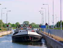 River vessel in a lock Royalty Free Stock Image