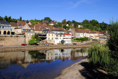 River Vezere. In the market town of Le Bugue, France Stock Image