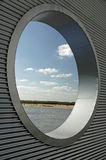 River View. A view of the Mississippi River through a round window Royalty Free Stock Image