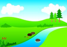 River View. Stock illustration of a river and mountain in cartoon style Stock Photo
