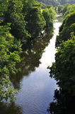 River View. Aerial View of a Tree Lined River Royalty Free Stock Image