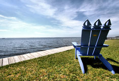 River View. Chair and Dock in Oriental, North Carolina stock image