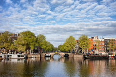 River View of Amsterdam in the Netherlands Stock Photos