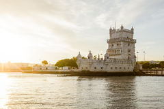 River view of Belem Tower in Lisbon, Portugal Royalty Free Stock Images