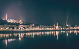 River view of Budapest, Hungary, at night, illuminated Buda side Royalty Free Stock Photo