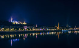 River view of Budapest, Hungary, at night, illuminated Buda side Stock Photo