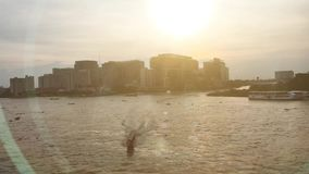 River view of Chaopraya river with sunset stock video