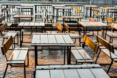 River view of a coffee terrace with tables and chairs Stock Image