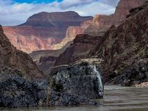 River view from Colorado River in the Grand Canyon showing canyon wall layers and birds nest. View from river level of the Colorado River in the Grand Canyon stock image